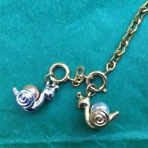 Joan Rivers Snail Charms Extender Set w pearls